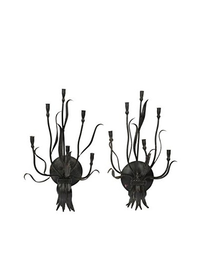 Set Of 2 Painted Metal Wall Candle Sconces, Black