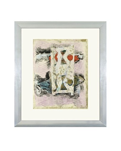 Aviva Stanoff One-of-a-Kind Handpainted Pink & Beige Framed Lithograph