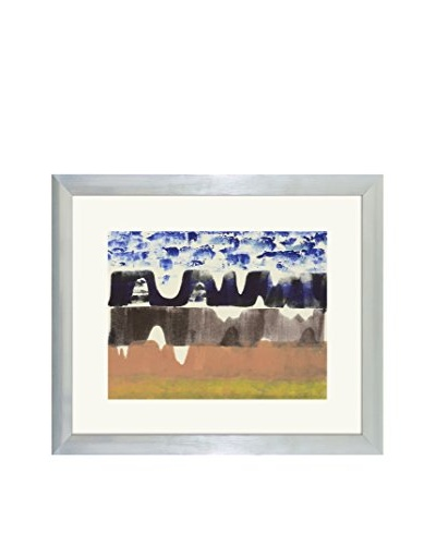 Aviva Stanoff One-of-a-Kind Handpainted Blue & Peach Framed Lithograph