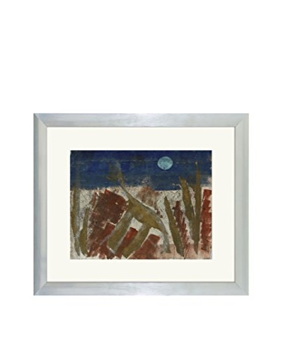 Aviva Stanoff One-of-a-Kind Handpainted Blue, Brown & Red Framed Lithograph