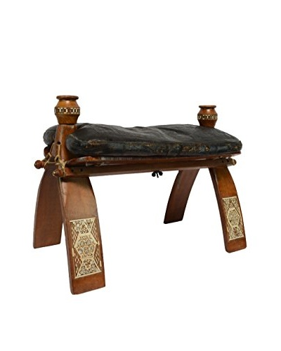 Handmade Leather And Wood Stool With Mother Of Pearl Inlay, Chestnut Brown With Black