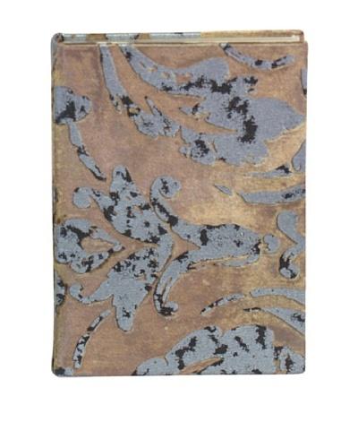 Aviva Stanoff Gilt-Edged Velvet Keepsake Journal, Mink/Orange