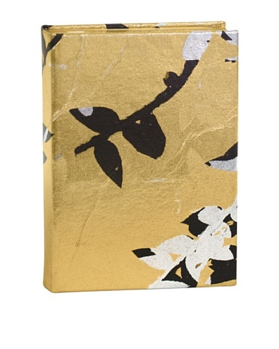 Aviva Stanoff Gilt-Edged Vinyl Keepsake Wide-Ruled Journal, Gold/Black/Silver
