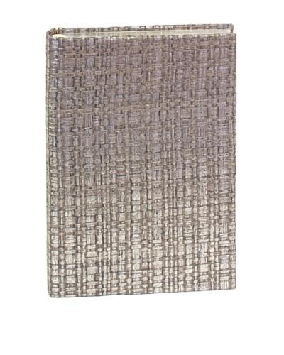 Aviva Stanoff Gilt-Edged Basketweave Keepsake Wide-Ruled Journal, Silver