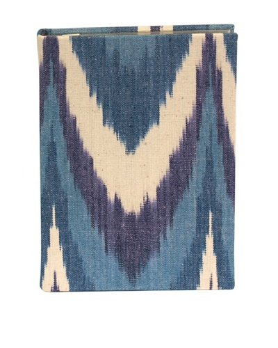 Aviva Stanoff Gilt-Edged Ikat Keepsake Wide-Ruled Journal, Blue Chevron