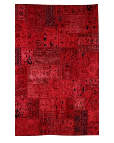 Azra Imports Overdyed Vintage Patchwork Rug [Red]