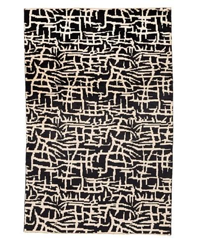 Azra Imports Vogue Rug, Black/Ivory, 4' x 6'