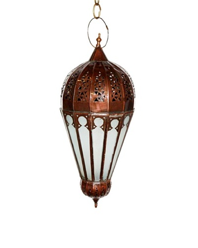 Badia Design Brass Lantern with White Glass, Brown/White