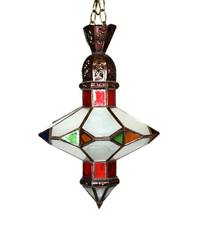Badia Design Brass Saucer Multi-Color Glass Shade