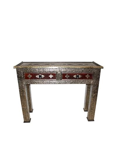 Badia Design Metal & Hard Leather 2-Drawer Table, Brown/Silver