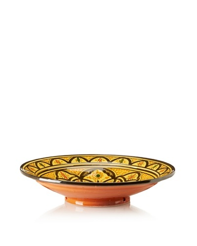 Badia Design Hand-Painted & Hand-Carved Ceramic Platter, Yellow