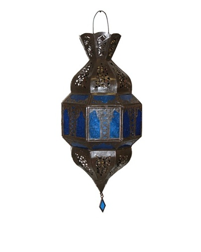 Badia Design Rick Lantern with Blue Glass, Brown/Blue