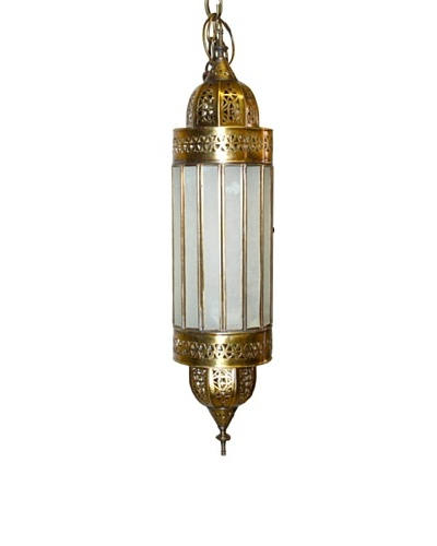 Badia Design Brass Lantern with White Glass, Beige/White