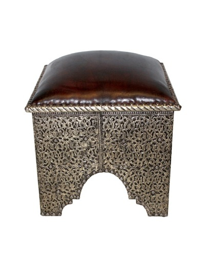 Badia Design Silver Metal & Leather Ottoman, Silver/Brown