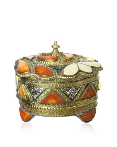 Badia Design Metal & Bone Ornate Jewelry Box, Orange/White