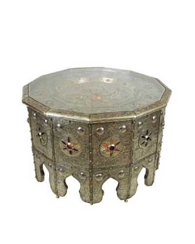 Badia Design Moroccan Lighting Table, Silver