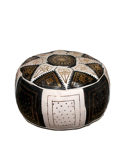 Badia Design Round Leather Star Design Ottoman, Brown/White