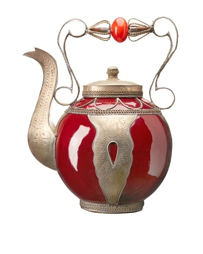 Badia Design Decorative Ceramic Teapot, Red