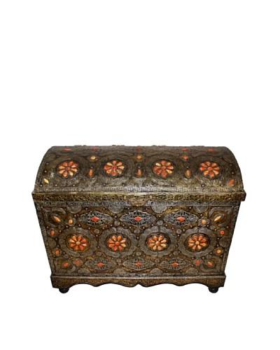 Badia Design Moroccan Metal & Bone Trunk, Brown/Orange