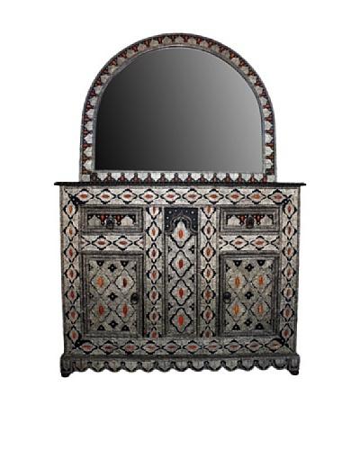 Badia Design Metal & Bone Mirror Cabinet, Brown/Beige/Orange