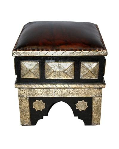 Badia Design Decorative Metal & Leather Ottoman, Silver/Brown