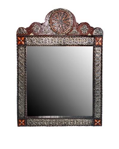 Badia Design Round Top Rectangular Mirror, Red/Tan