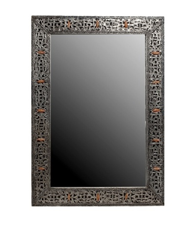 Badia Design Silver Nickel & Bone Rectangular Mirror, Silver/Orange