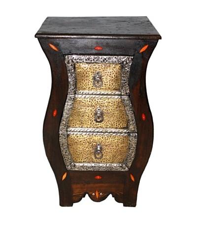 Badia Design Tall Metal & Bone 3-Drawer Cabinet, Brown/Silver/Orange