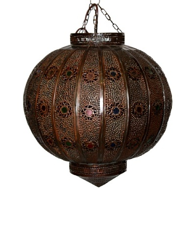Badia Design Dark Tin Round Lantern with Multi-Color Glass, Brown