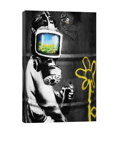 Banksy Sunflower Field Gas Mask Girl Giclée Canvas Print