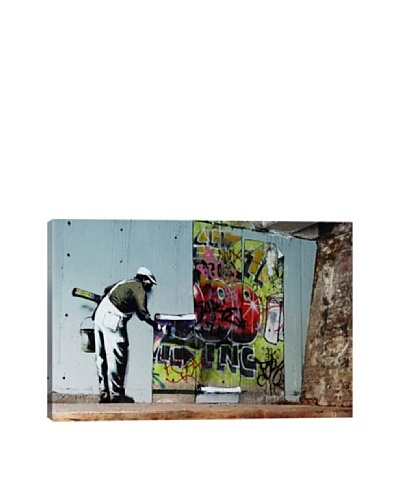 Banksy Graffiti Wallpaper Hanging Giclée Canvas Print