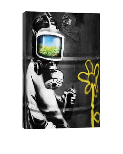 Banksy Sunflower Field Gas Mask Girl Black and White Ultrachrome Canvas Print