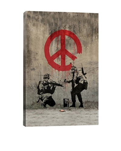 Banksy Soldiers Painting Peace, Giclée Canvas Print