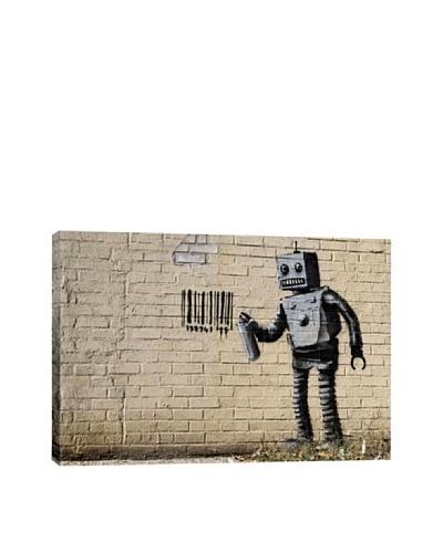 Banksy Tagging Robot 1 Giclée Canvas Print