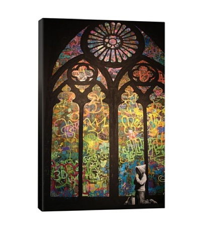 Banksy Stained Glass Window Graffiti Giclée Canvas Print