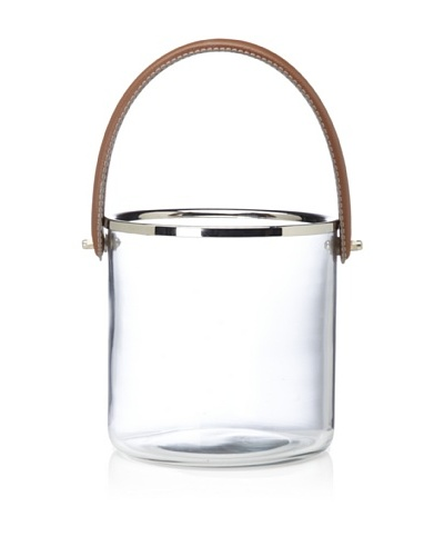Barclay Butera Equestrian Ice Bucket with Leather Handle [Clear]