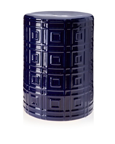 Barclay Butera Seaside Embossed Square Design Earthenware Stool [Cobalt]