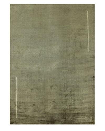 "Bashian Rugs Fine Tibetan Silk & Wool Rug, Oyster, 6' x 8' 9"""