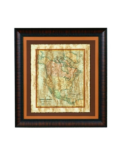 Bassett Mirror Distressed Map I Framed Print