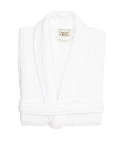 Famous International Terry Rib Robe, White