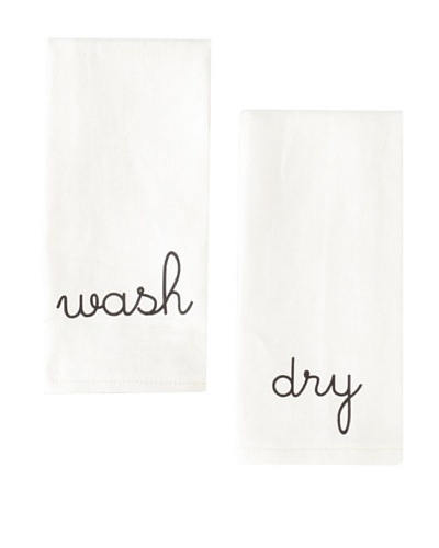 Chateau Blanc Set of 2 Sonoma Hand Towels, Off-White/Black, 15 x 22