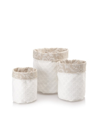 Chateau Blanc Set of 3 Kingston Fabric Storage Bags, Neutral