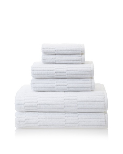 Chortex Oxford 6-Piece Bath Towel Set, White