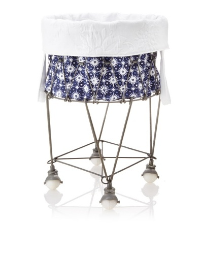 Chateau Blanc Nantucket Small Wire Hamper, Navy/White