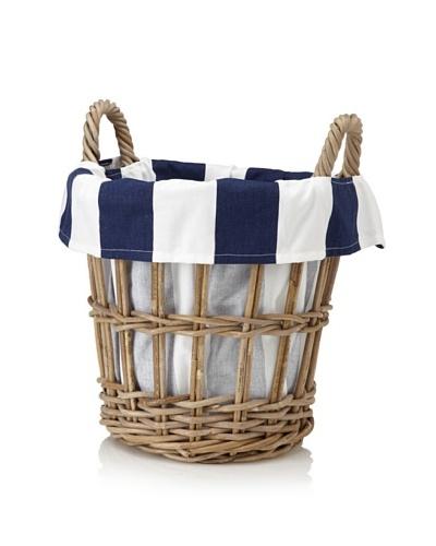 Chateau Blanc Nantucket Small Rattan Basket, Brown/White/Navy