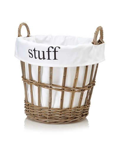Chateau Blanc Nantucket Large Rattan Basket, Brown/White