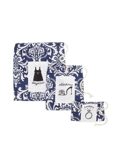 Chateau Blanc Set of 3 Nantucket Printed Bags, Navy/White