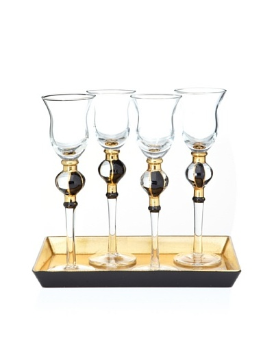 Artland Set of 4 Radiance Cordial Cups with Tray and Gift Box