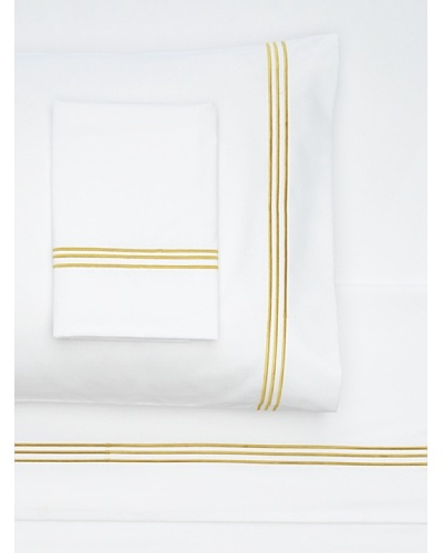 Nine Space Embroidered Sheet Set, White/Gold, King