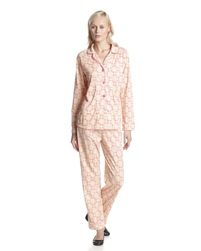 BedHead Pajamas Women's Geo Aqua Classic Notch Collar PJ Set